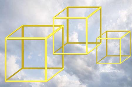 interlinked: Concepto de negocio de pensamiento de cielo azul