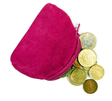 economise: Pink change purse with Euro coins, over white Stock Photo