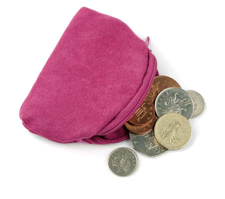 coin purse: Pink change purse with UK money coins, over white Stock Photo