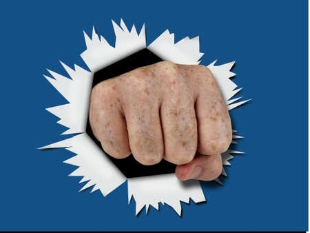 Male fist breakthrough blast aka splash effect Stock Photo - 10542792