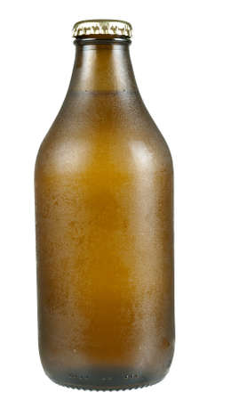 unopened: Cold bottle of beer, unopened, with condensation isolated over white Stock Photo
