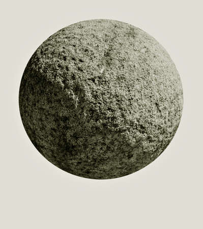 sidelit: Stone orb - looks like a planet, isolated over light grey Stock Photo