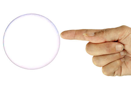 Bubble going pop! With finger, over white, metaphor photo