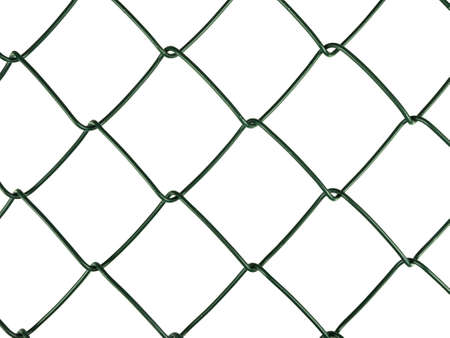 Green chain link fence detail, white background Stock Photo - 10618709