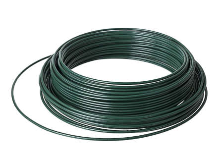 PVC plastic coated wire coil - over white background photo