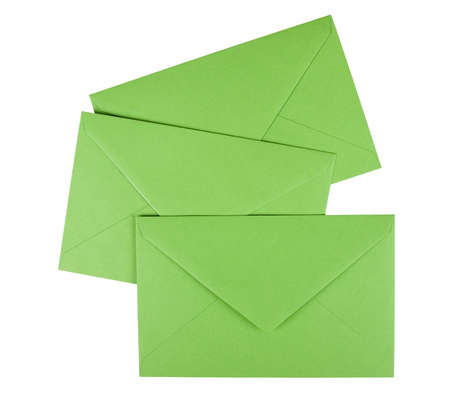 Green envelopes isolated over white Stock Photo - 11032919