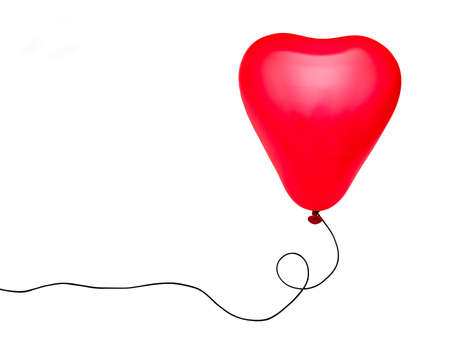 Red heart balloon over white Stock Photo - 11032909