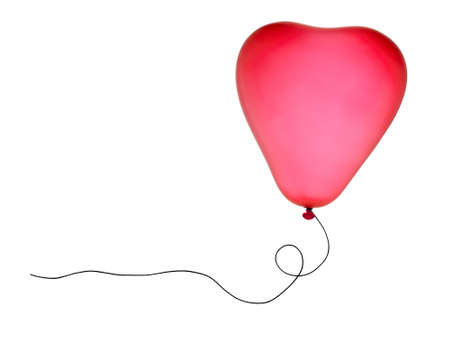 Pink heart shaped balloon over white Stock Photo - 11032911
