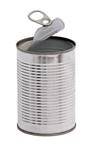 Empty tin can, isolated Imagens