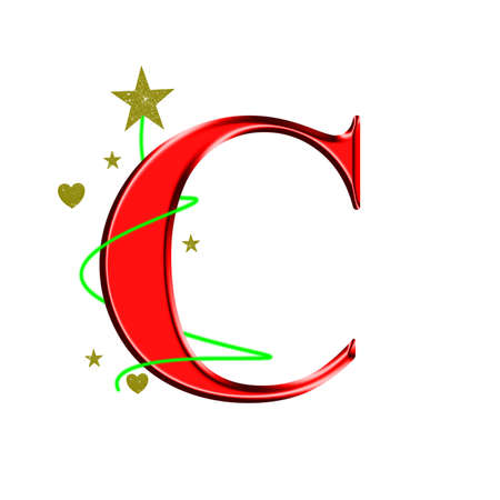 red glittery: Manuscript style letter C for Christmas, white background