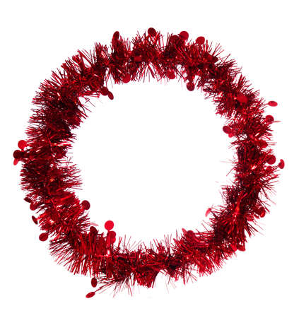 tinsel: Round red tinsel Christmas frame, border, background