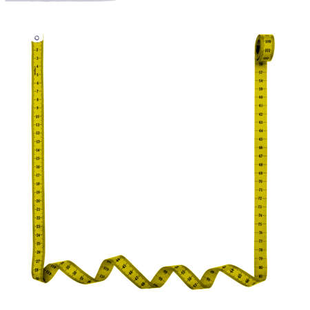 Tape measure square frame, background - isolated over white background