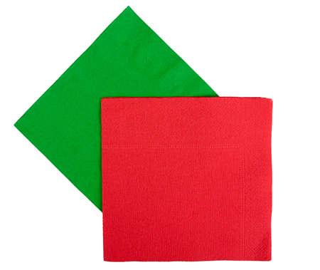 serviettes: Christmas or festive, red green serviettes aka napkins, isolated
