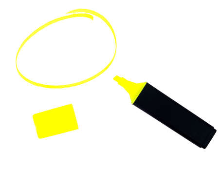 Vivid highlighter pen, lid and circle shape Stock Photo - 15048507