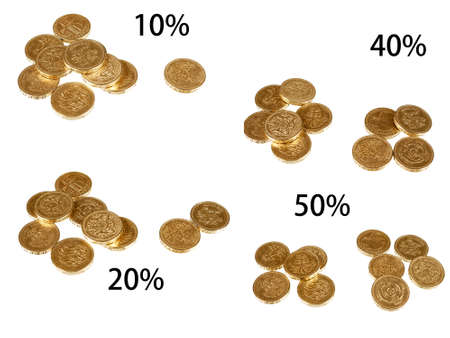 per cent: UK tax rates - isolated pound coins over white