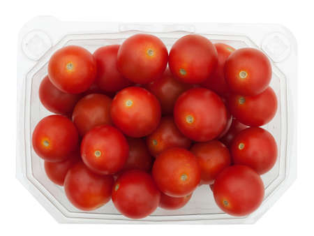Supermarket cherry tomatoes in plastic container, isolated photo