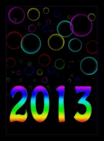 Psychedlic new year 2013 background, bubbly Stock Photo - 16390243