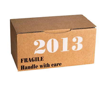 Fragile new year 2013 - isolated, metaphor Stock Photo - 16390249