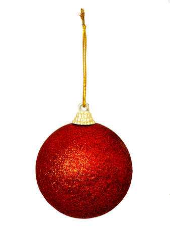 Red glitter Christmas decoration, bauble, isolated over white photo