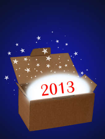 Surprise new year 2013 blue Stock Photo - 16390246