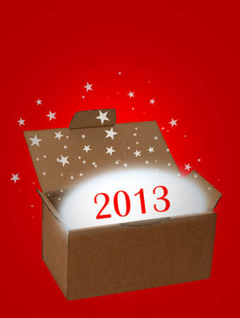 Surprise new year 2013 red Stock Photo - 16390244