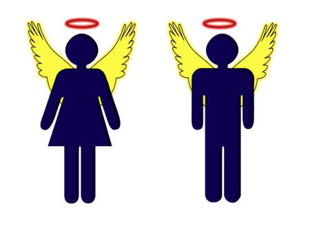 achiever: Business angels, illustration male and female