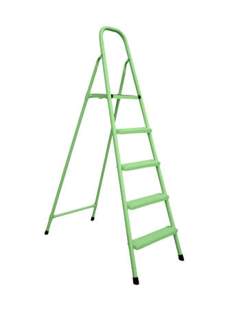 Green stepladder isolated over white Stock Photo - 16885887