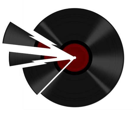 78 rpm: Broken black vinyl record with shards, white background