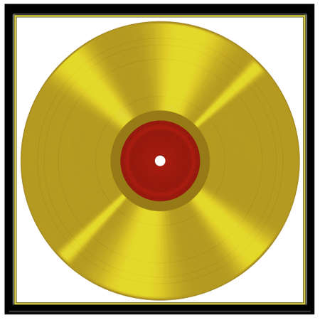 Gold disc like music award - illustration illustration