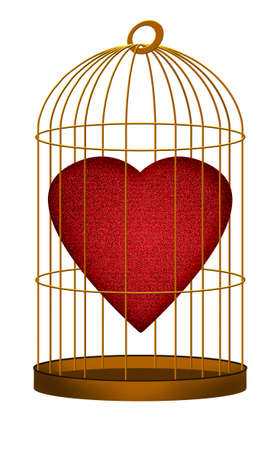 prisoner of love: Heart in gilded cage white background