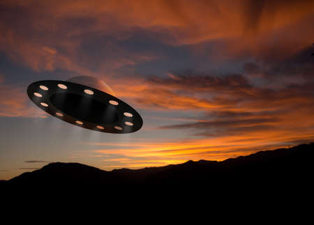 unidentified: Alien space ship aka ufo at sunset Stock Photo