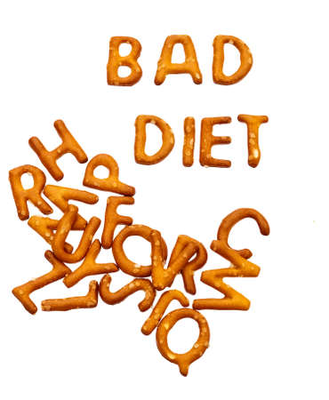 bad diet: Bad diet written in salty fattening snacks