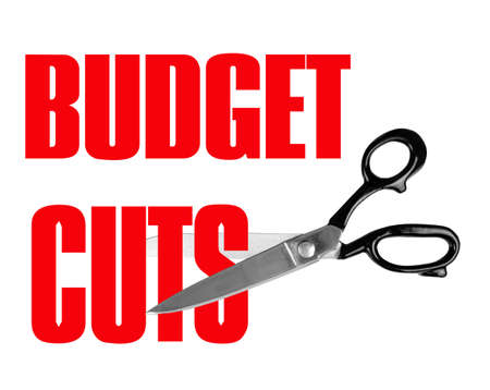 Scissors cutting budget in red - white background