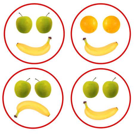 frutas divertidas: Diversi�n fruta enfrenta sobre blanco