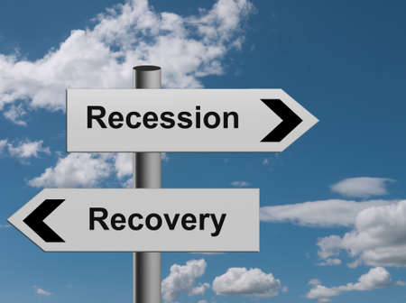 Recession recovery - economic sign post metaphor photo