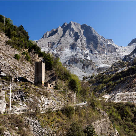 Marble quarry mountain square crop - Carrara, Italy photo