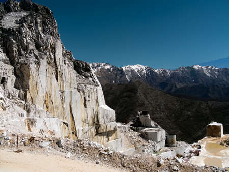 Carrara marble mountain quarry view photo