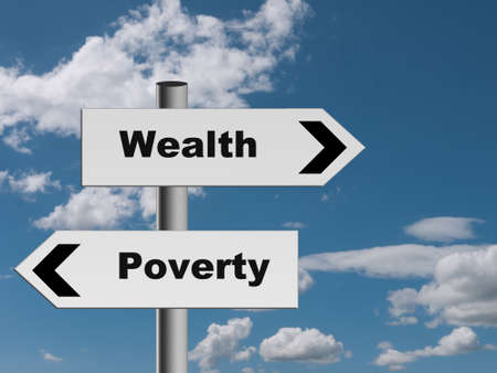 Road to riches or ruin - wealth or poverty sign metaphor photo