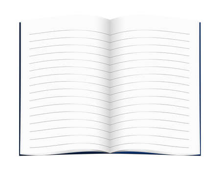 exercise book: Open book, lined pages with blue cover