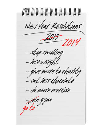 again: New year resolutions 2014 - same again Stock Photo