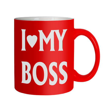 Love my boss mug, white background Stock Photo - 21593063