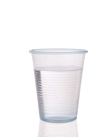 disposable: Plastic cup of water Stock Photo