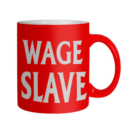 office slave: Wage slave - office humour  Stock Photo