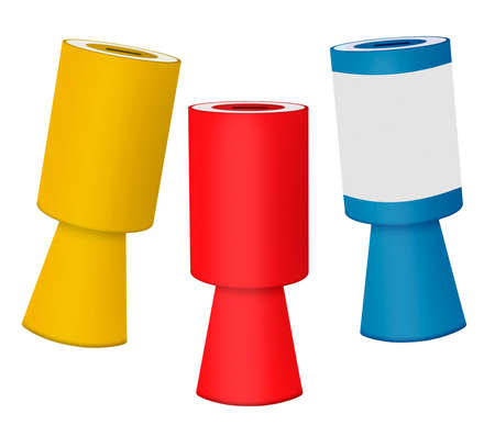 fundraising: Red yellow and blue charity collecting boxes