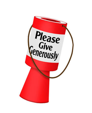 fundraiser: Red charity collecting box, isolated Stock Photo