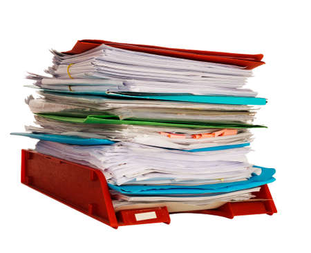 overwork: In-tray aka intray - administration, paperwork Stock Photo