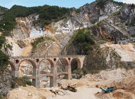 carrara: Ponti di Vara, Fantiscritti - Carrara marble bridges Stock Photo