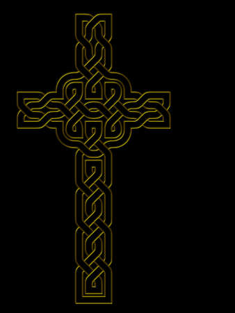 Gold cross on black - Celtic style photo