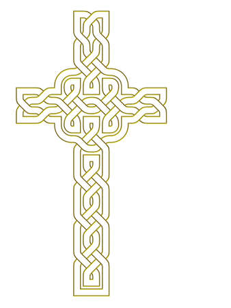 Celtic knot style gold cross photo