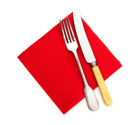 serviette: Knife, fork and red paper serviette, napkin Stock Photo